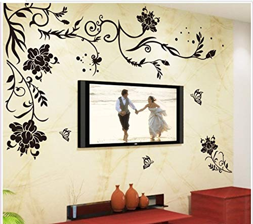 qingyuge Wall Sticker Black Butterfly Flower Removable Vinyl Wall Sticker Decals Quote Living Room Bedroom Background Home Decor]()