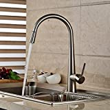 Rozinsanitary New Single Handle Kitchen Faucet Nickel Brushed Sink Mixer Tap Pull Out Faucet
