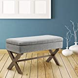 Fabric Upholstered Storage Ottoman Bench, Large Rectangular Gray Footrest Collapsible Bench Seat with Nailhead Trim & X-Shaped Wood Legs for Living Room, Bed Room, Hallway or Utility Room by Chairus Review