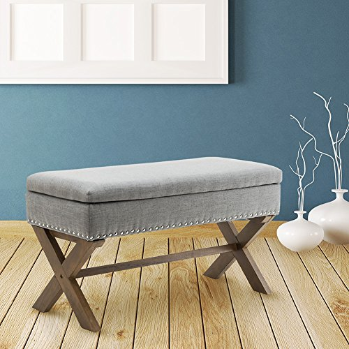 Room Bench Dining Fabric (Fabric Upholstered Storage Ottoman Bench, Large Rectangular Gray Footrest Collapsible Bench Seat with Nailhead Trim & X-Shaped Wood Legs for Living Room, Bed Room, Hallway or Utility Room by Chairus)