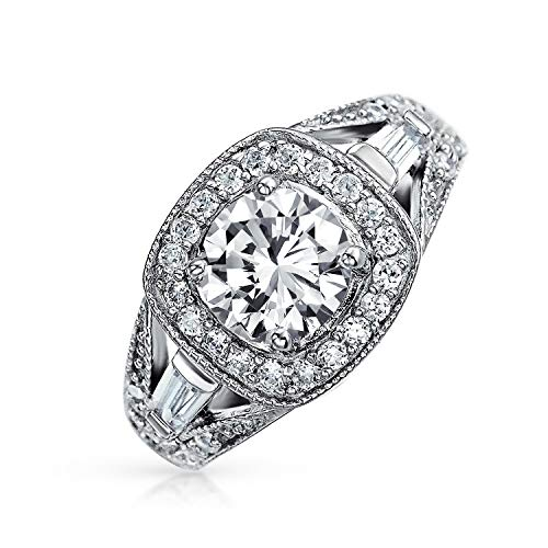 Art Deco Style 2CT Square Cushion Cut Solitaire 925 Sterling Silver Pave Halo CZ Engagement Ring Split Baguette Band ()