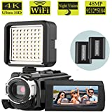 Camcorder, AiTechny 48MP 4K Camcorder WiFi Digital Video Camera, 1080P 60FPS Camera Camcorder, 3.0 Touch Screen IR Night Vision Camcorder With LED Video Light Lamp (4K Camera+LED)