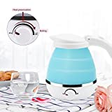 Blue 0.5L Foldable Travel Electric Kettle Food Grade Silicone Collapsable Portable Water Kettle, Easy & Convenient Storage - Boil Dry Protection 110-120V US Plug