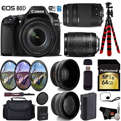 Canon EOS 80D DSLR Camera with 18-135mm is STM Lens & 75-300mm III Lens + UV FLD CPL Filter Kit + Wide Angle & Telephoto Lens + Camera Case + Tripod + Card Reader - International Version -  6Ave