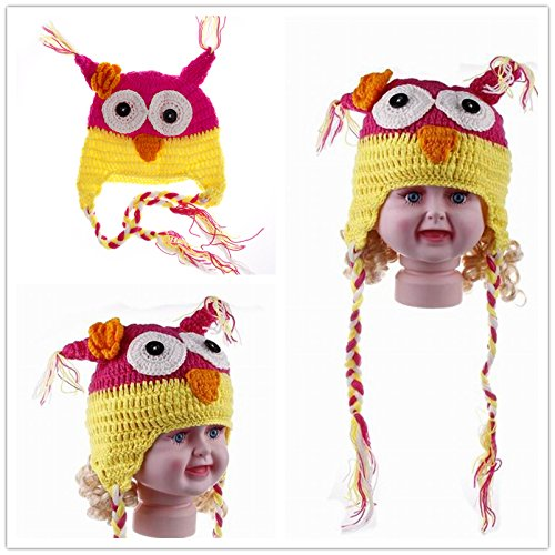 Red Jtc Baby Boy Girl Owl Knit Caps Cartoon Weave Hats Toddler Yellow
