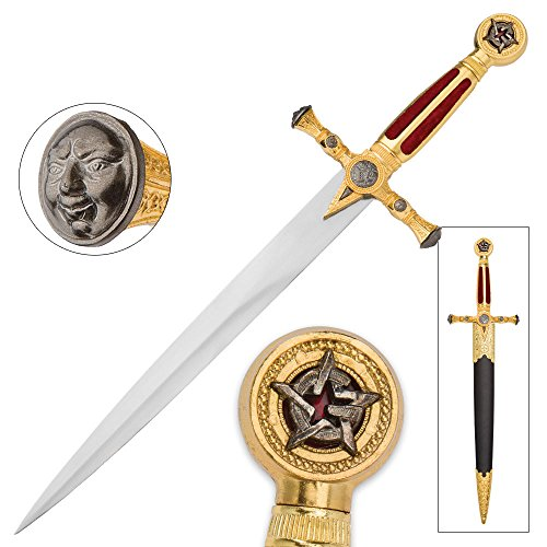 K EXCLUSIVE Masonic Star of Destiny Medieval Dagger with Scabbard - Red