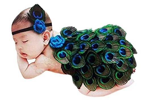 Ufraky Baby Girl Headband With Peacock Feather Wing Costume Photo Prop Outfit ()