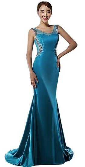 Drasawee Womens Collar Rhinestone Slim Mermaid Evening Dress Prom Gowns Blue UK8
