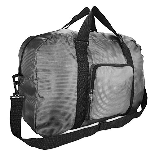 DALIX Foldable Travel Bag Packable Duffle Duffel Bag Carry On Gray