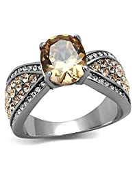 3.3 CT OVAL CUT CHAMPAGNE CZ STAINLESS STEEL ENGAGEMENT RING WOMEN'S SIZE 5-10