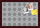 PinPix custom printed pin cork bulletin board made from canvas, Grey and White Graphic Lava Pattern 18 x 12 Inches (Completed Size) and framed in Classic Mahogany Frame (PinPix-231)