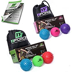 11FORCE Premium Therapy Massage Balls by, Best for Physical Therapy Equipment Lacrosse & Spiky Ball, Plantar Fasciitis Tools, Myofascial Release, Foot Relief Trigger Points, Set or Single, FREE BOOK