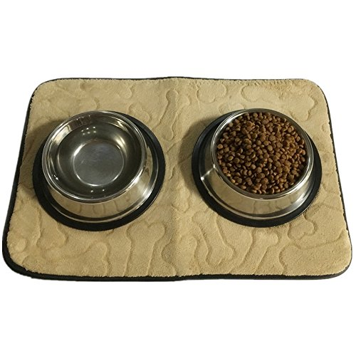 60%OFF Rectangular Beige Embossed Bone Pattern Highly Absorbent Polyester Multi-functional Pet Placement Mat for Feeding 18 x 12 in
