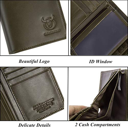 Bullcaptain Large Capacity Genuine Leather Bifold Wallet/Credit Card Holder for Men with 15 Card Slots QB-027 (Brown#2)
