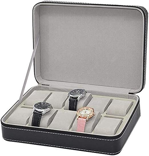Meilandeng Cajas para Relojes Caja De Reloj con Cremallera con 10 Compartimentos De La Caja De Almacenamiento De La Pantalla del Reloj,Caja De ColeccióN De Reloj Simple Bolsa De Reloj PortáTil: Amazon.es: