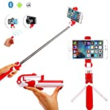 Selfie Stick Tripod With Detachable Bluetooth 3.0 Remote Shutter, Pocket Size, Extendable Aluminum Rod For iPhone 8/8+/7/7P/6/6P/SE, Galaxy S5/S6/S7/S8, LG, HTC, Moto, Huawei & More (Red)