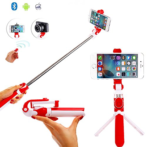 Selfie Stick Tripod With Detachable Bluetooth 3.0 Remote Shutter, Pocket Size, Extendable Aluminum Rod For iPhone 8/8+/7/7P/6/6P/SE, Galaxy S5/S6/S7/S8, LG, HTC, Moto, Huawei & More (Red) by CaseHaven
