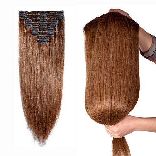 """160g Double Weft Clip in 100% Remy Human Hair Extensions #6 Light Brown Grade 7A Quality Full Head Thick Thickened Long Soft Silky Straight 8pcs 18clips for Women Fashion 22"""" / 22 inch"""