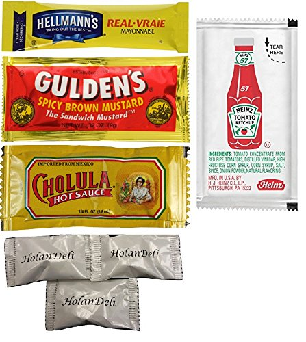 (pack of 80) Hellmann's Mayonnaise, Heinz Ketchup, Gulden's Spicy Brown Mustard, Cholula Hot Sauce. Assorted Single Serve Packets. Includes HolanDeli Mints.