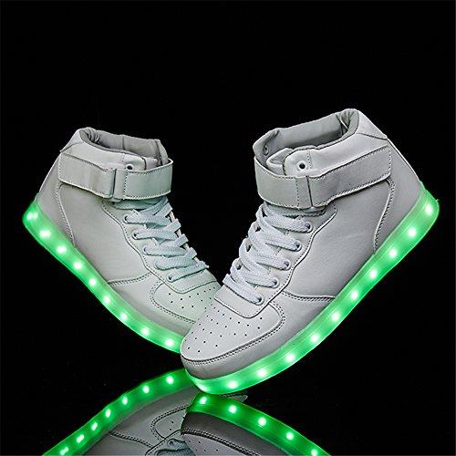SANYES USB Lade leuchten Schuhe Sport LED Schuhe tanzen Turnschuhe Weiß02
