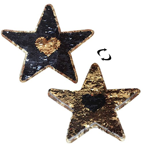 - Yalulu 2Pcs Reversible Change Color Sequins Sew On Embroidered Patches for Clothes DIY Craft Patch Applique Bag Clothing Coat Jeans (Star)