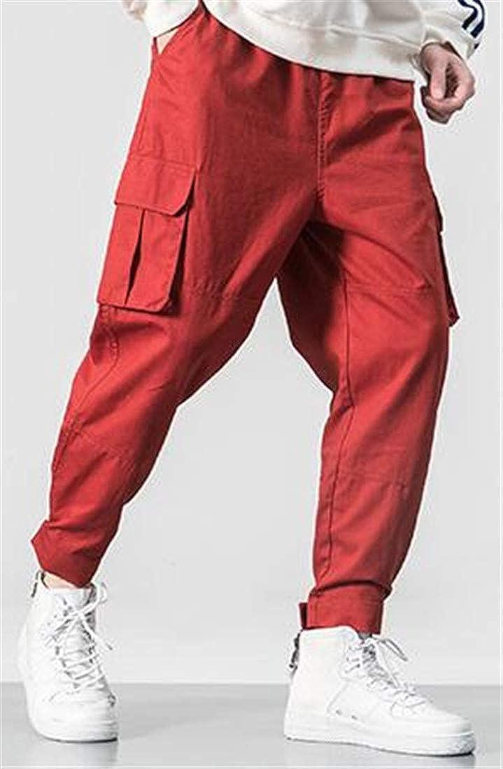 Lutratocro Mens Casual Multi Pockets Elastic Waist Loose Harem Cargo Pants Trousers