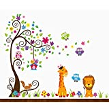 Dekosh Kids Jungle Theme Peel and Stick Wall Decal, Colorful Owl Giraffe Lion Tree Decorative Unisex Sticker for Children Bedroom, Nursery, Playroom Mural