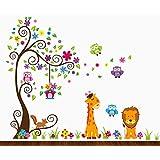 Dekosh Kids Jungle Theme Peel and Stick Wall Decal, Colorful Owl Giraffe Lion Tree Decorative Unisex Sticker for Children Bedroom, Nursery, Playroom Mural