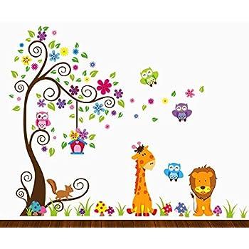 Dekosh Kids Jungle Theme Peel And Stick Wall Decal, Colorful Owl Giraffe  Lion Tree Decorative Part 33
