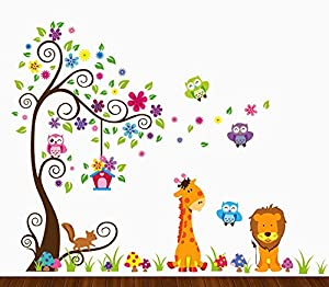 Amazoncom Dekosh Kids Jungle Theme Peel And Stick Wall Decal - Jungle theme wall decals