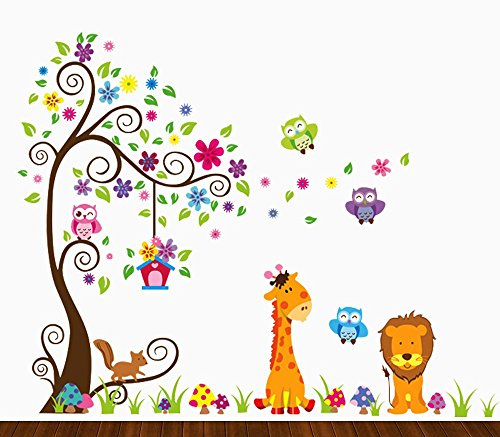 Dekosh Kids Jungle Theme Peel and Stick Wall Decal, Colorful Owl Giraffe Lion Tree Decorative Unisex Sticker for Children Bedroom, Nursery, Playroom Mural (Childrens Clothes Tree)