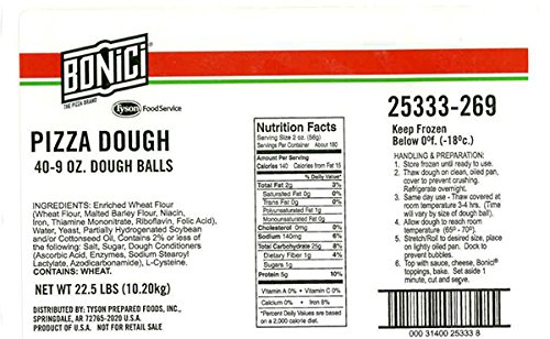 Bonici Pizza Dough Balls, 9 oz., Pack of 40