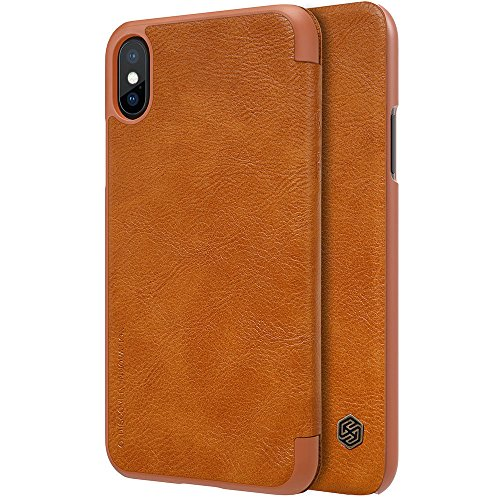 Nillkin Case for Apple iPhone Xs (5.8″ Inch) Qin Genuine Classic Leather Flip Folio PC Brown Color