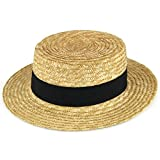 Straw boater hat sailor skimmer black band Hawkins summer sun - 56