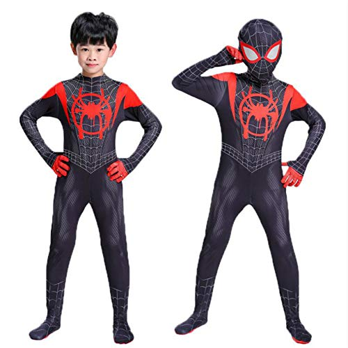 (Spider-Man Into The Spider-Verse Miles Morales Cosplay Costume Zentai Spiderman Pattern Bodysuit Suit Jumpsuits Black)