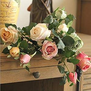 JIAHUADE Artificial Roses Branch Silk+Plastic Fake Flowers Home Hotel Decor Blue Rose Wedding Decoration DIY Flores Wreath 79