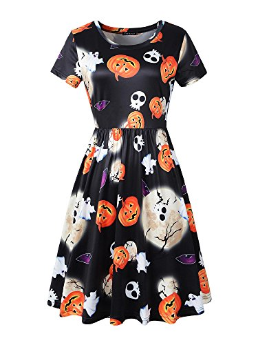 Halloween Skirt (Veranee Women Short Sleeve Summer Casual Flared Halloween Dress with Pockets (Small, 7-14))