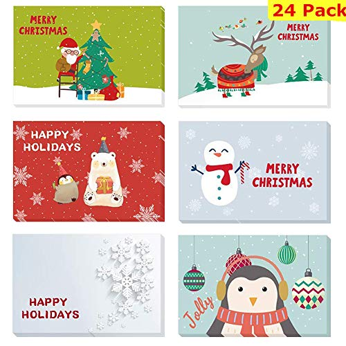 Christmas Greeting Cards -24 Pack Christmas Cards Merry Christmas Greeting Cards Set Handmade Holiday Greeting Crads Six Cartoon Design Xmas Greeting cards with Envelopes--Blank Inside
