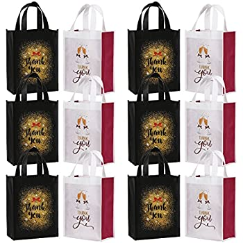 Avery Barn Reusable Party Favor Thank You Goodie Gift Bags for Bridal Shower Wedding Birthday Present Totes with 2 Designs - Set of 12