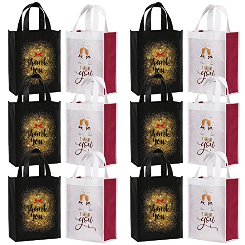 Avery Barn Reusable Party Favor Thank You Goodie Gift Bags for Bridal Shower Wedding Birthday Present Totes with 2 Designs - Set of 12 -