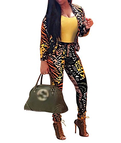 Women's Long Sleeve Digital Print 2 Pieces Blazer and Pants Suit Set (X-Large, Yellow) (Sexy Pants Suits)
