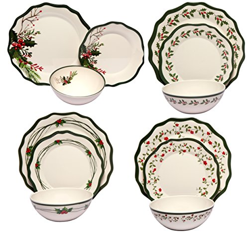 Melange 12-Piece 100% Melamine Dinnerware Set (Berries Collection ) | Shatter-Proof and Chip-Resistant Melamine Plates and Bowls | Dinner Plate, Salad Plate & Soup Bowl (4 Each)