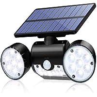 Solar Lights Outdoor, Super Bright Motion Sensor Dual Head Floodlight 180-Degree Adjustable Waterproof, Radar Detector…