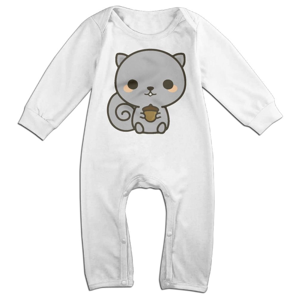 Mri-le1 Baby Boy Organic Coverall Cute Squirrel with Acorn Toddler Jumpsuit