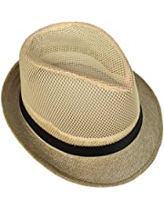 COMVIP Adult's Straw Summer Mesh Breathable Fedora Hats Beach Sun Cap