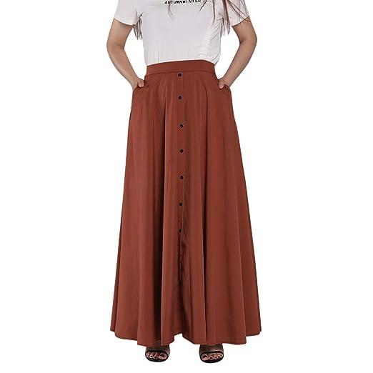 Shenye - Falda larga para mujer, talla grande, plisada, color puro ...