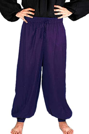 Deluxe Adult Costumes - Medieval Pirate Poet's Royal Blue Harem Pants by ThePirateDressing