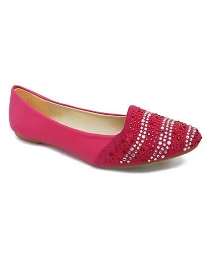 9f199bbf6 Amazon.com  Women Fuchsia Pink Rhinestone Ruby Indian Ethnic Flats slip on loafers  Ballet Shoes Jutti Sz 7.5  Everything Else