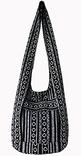 Thai Tribal Hmong Boho Striped Ethnic Cotton Boho Sling Crossbody Bag Shoulder Bag Thai Pattern Bag Thai Top Zip Handmade Asia Bag (Stripe Black) (Purse Pattern Sling)