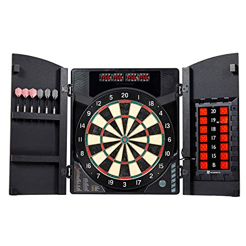 MD Sports BristleSmart Dartboard with Cabinet, Steel Tip Darts Set, Electronic Cricket Scoring, 294 Game Variations - Professional, Versatile Dartboard Kit with Wooden Finish - Recreational Dartboards